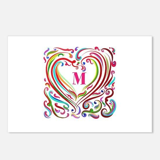 Monogrammed Art Heart Postcards (Package of 8)