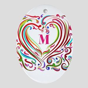 Monogrammed Art Heart Oval Ornament