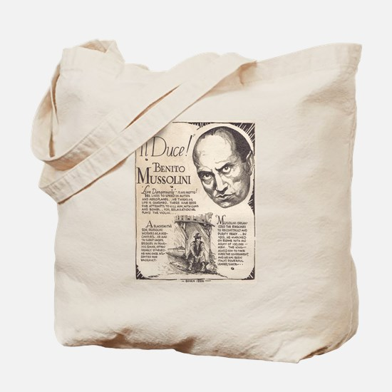Vintage Benito Mussolini Poster Tote Bag