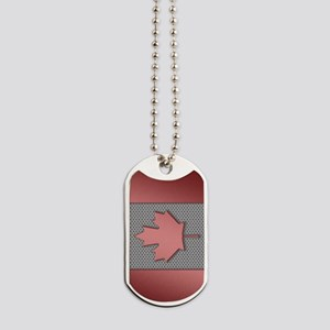 Canadian Flag Brushed Metal Dog Tags