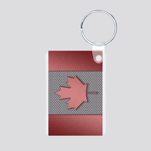 Canadian Flag Brushed Metal Keychains