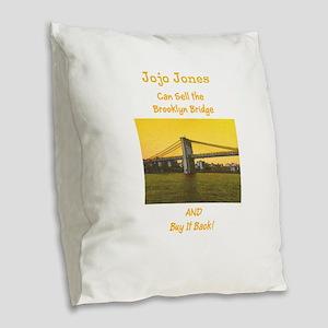 Custom Realtor Sells All Burlap Throw Pillow