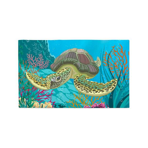 Cute Sea Turtle 3'x5' Area Rug By BestGear