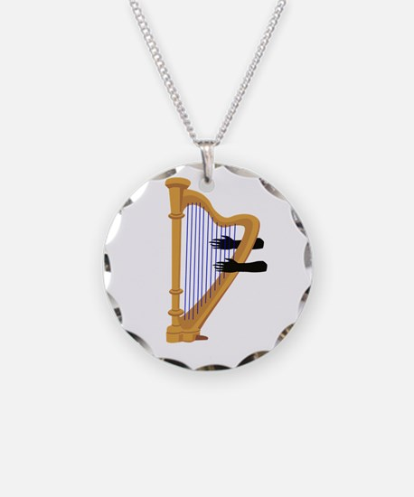 harp and hands graphic Necklace