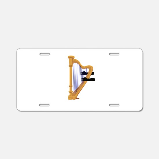harp and hands graphic Aluminum License Plate