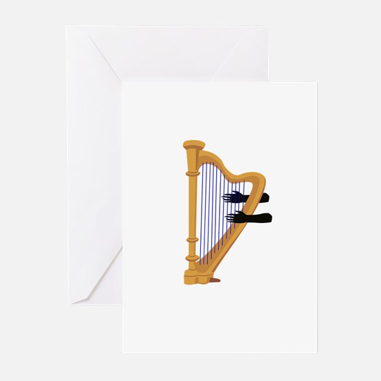 harp and hands graphic Greeting Cards
