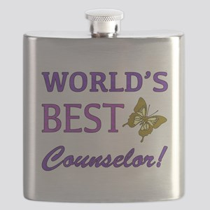 World's Best Counselor (Butterfly) Flask