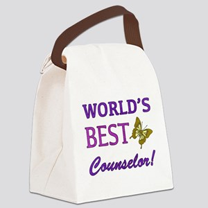 World's Best Counselor (Butterfly) Canvas Lunch Ba