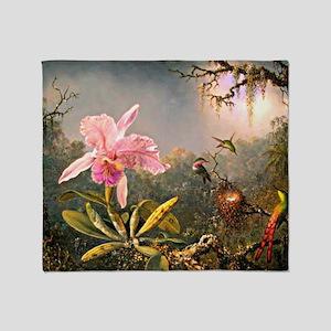 Cattleya Orchid and Three Hummingbir Throw Blanket