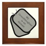 My Granddaughter is an Airman dog tag Framed Tile