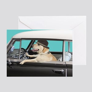 Yellow Labrador Driving Classic Car Greeting