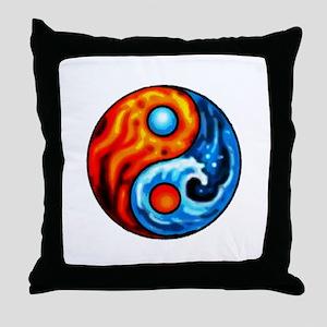 FIRE - WATER YIN - YANG Throw Pillow