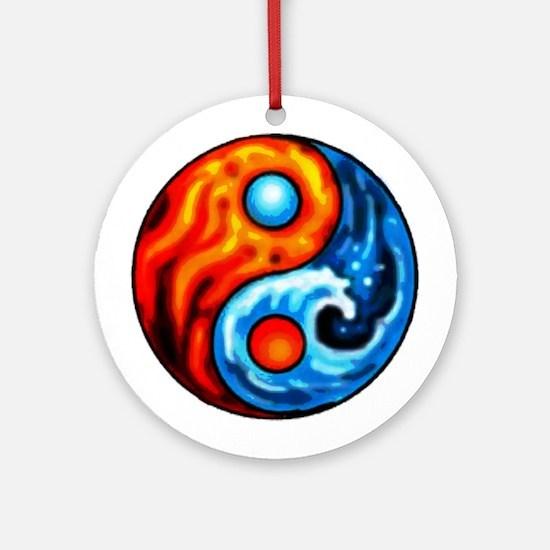 FIRE - WATER YIN - YANG Ornament (Round)
