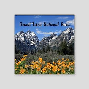 Personalizable Grand Tetons Souvenir Square Sticke