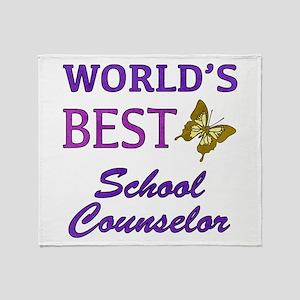 World's Best School Counselor (Butterfly) Throw Bl