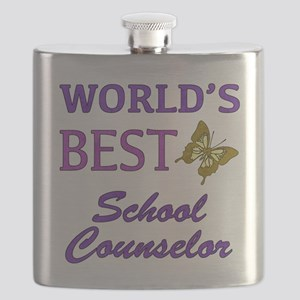 World's Best School Counselor (Butterfly) Flask