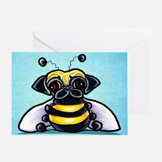 Pug as Bee Blue Greeting Cards