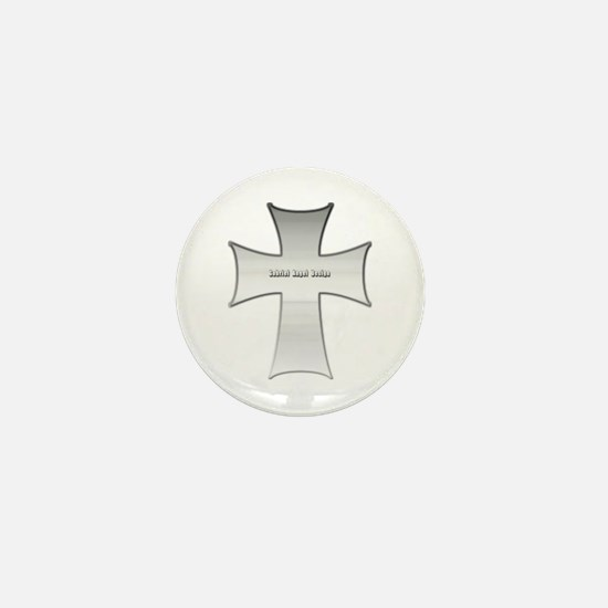 Silver Cross Mini Button