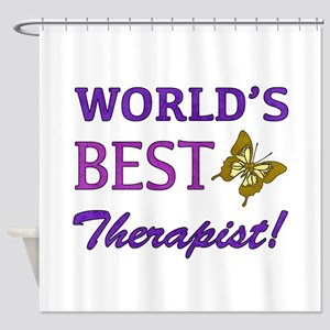 World's Best Therapist (Butterfly) Shower Curtain