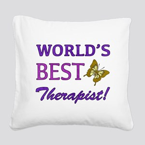 World's Best Therapist (Butterfly) Square Canvas P