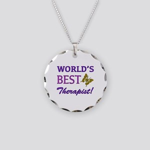 World's Best Therapist (Butterfly) Necklace Circle