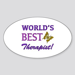 World's Best Therapist (Butterfly) Sticker (Oval)