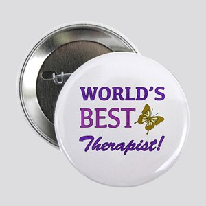 "World's Best Therapist (Butterfly) 2.25"" Button"