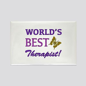 World's Best Therapist (Butterfly) Rectangle Magne