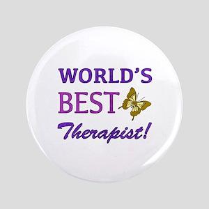 "World's Best Therapist (Butterfly) 3.5"" Button"