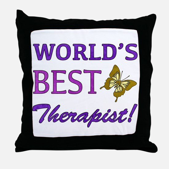 World's Best Therapist (Butterfly) Throw Pillow