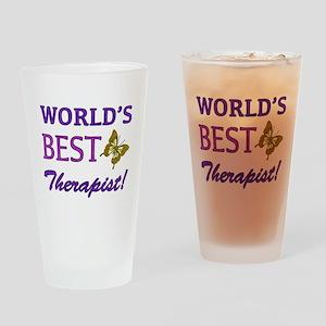 World's Best Therapist (Butterfly) Drinking Glass