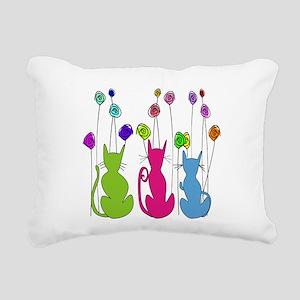 Whimsical Cats and Flowers Duvet Rectangular Canva