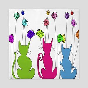 Whimsical Cats and Flowers Duvet Queen Duvet