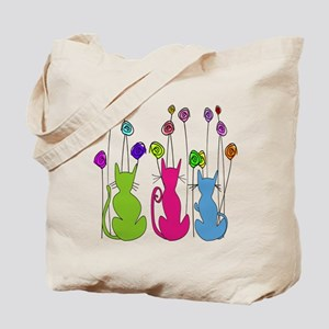 Whimsical Cats and Flowers Duvet Tote Bag