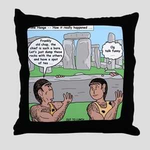 Cavemen at Stonehenge Throw Pillow