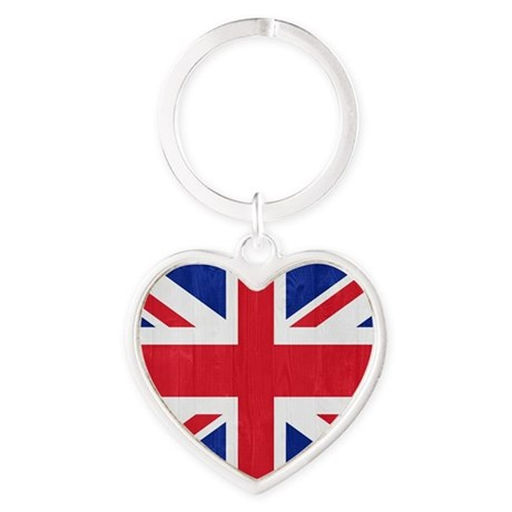 United Kingdom flag Heart Keychain