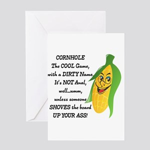 Cornhole, cool game, dirty name Greeting Cards