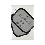 My Husband is a Sailor dog tag Rectangle Magnet (