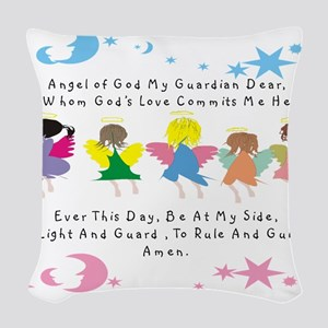 angel of God Twin WHITE Woven Throw Pillow