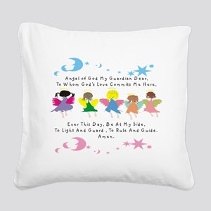 angel of God Twin WHITE Square Canvas Pillow