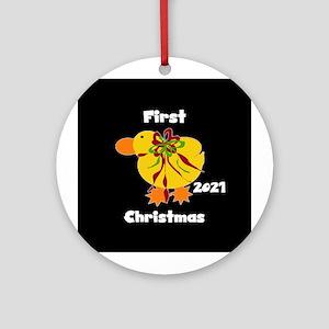 20146 Yellow Duck (round) Round Ornament