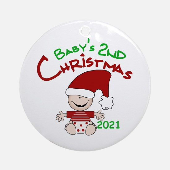 Stocking Cap 2nd Christmas 2016 Round Ornament
