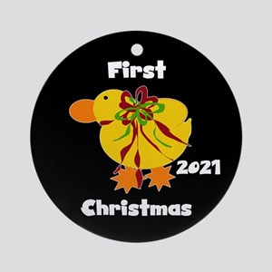 Yellow Ducky Baby's 1st Christmas Round Orname