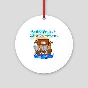 Noah's Ark Baby's 1st Christmas Round Orna