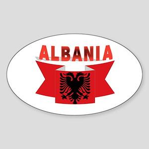 flag Albania Ribbon Oval Sticker