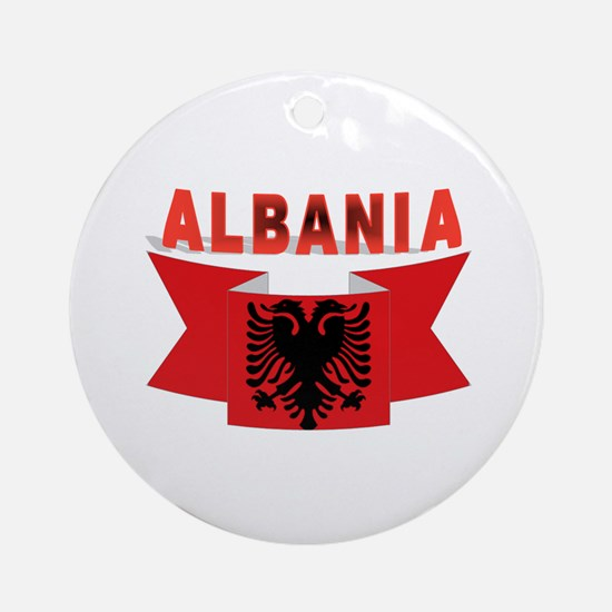 flag Albania Ribbon Ornament (Round)