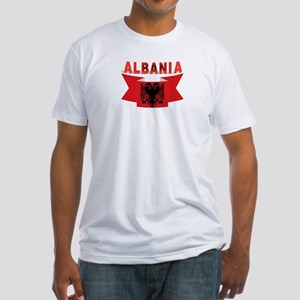 flag Albania Ribbon Fitted T-Shirt