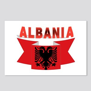 flag Albania Ribbon Postcards (Package of 8)