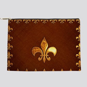 Old Leather with gold Fleur-de-Lys Makeup Pouch