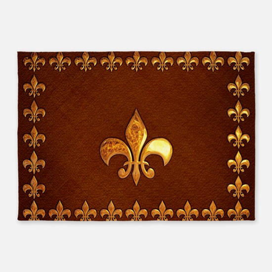 Old Leather With Gold Fleur De Lys 5 X7 Area Rug